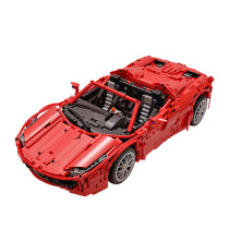2046Pcs MOC RC Sports Car Vehicle Model High Level Assembly Small Particle Building Block Set with Motor and Remote Control - Red