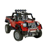 984Pcs MOC Small Particle Remote Control AWD Off-road Pickup Truck Vehicle DIY Construction Building Kit - Black