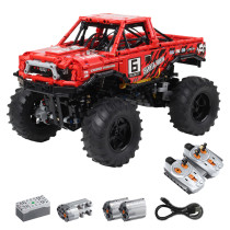 1760Pcs 1:10 2.4G Remote Control Mechanical Off-road Vehicle MOC Small Particle High Level Construction Building Kit
