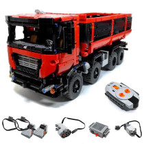 1415Pcs MOC RC Self-discharging Truck Vehicle Model High Level Assembly Small Particle Building Block Set with Motor and Remote Control