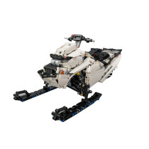 1361Pcs MOC RC Snowmobile Vehicle Model High Level Assembly Small Particle Building Block Set with Motor and Remote Control