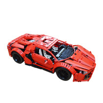 2813Pcs MOC RC Sports Car Vehicle Model High Level Assembly Small Particle Building Block Set with Motor and Remote Control - Red