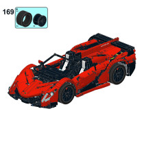 2652Pcs MOC RC Supercar Vehicle Model High Level Assembly Small Particle Building Block Set with Motor and Remote Control