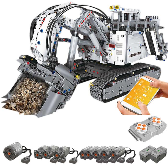 4062Pcs 2.4G Liebherr R 9800 RC Excavator Construction Truck DIY Small Particles Building Blocks Toy Set