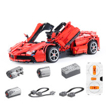3273Pcs 1:18 Scale RC Sports Car Vehicle Building Block DIY Construction Model Toy - Red