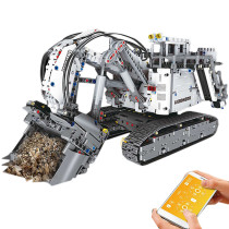 4062Pcs 2.4G Liebherr R 9800 RC Excavator Construction Truck DIY Small Particles Building Blocks Toy Set