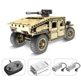 502Pcs 2.4G Remote Control Off-road Vehicle DIY Assembly Armed Building Block Military Truck