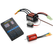 Hobbywing QuicRun WP-16BL30 30A Waterproof Sensorless Brushless ESC with 2435 4500KV Motor and LED Programming Card for 1/16 1/18 RC Car