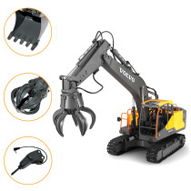 3-in-1 1/16 2.4G Remote Control Construction Toy Excavator Navvy Engineering Truck Model Electric Toys for Kids