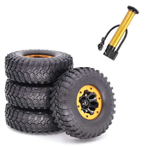 4Pcs 1.9 Inches Inflatable Wheels RC Car Tires Rubber Tires with Inflator for 1/10 SCX10 TRX4 D90 90046 4WD RC Car