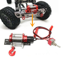 1/10 Universal RC Remote Control Vehicle Climbing Vehicle Off-road Vehicle Electric Winch with Steel Rope Hook for Axial SCX10 TRX4 D90 RC4WD