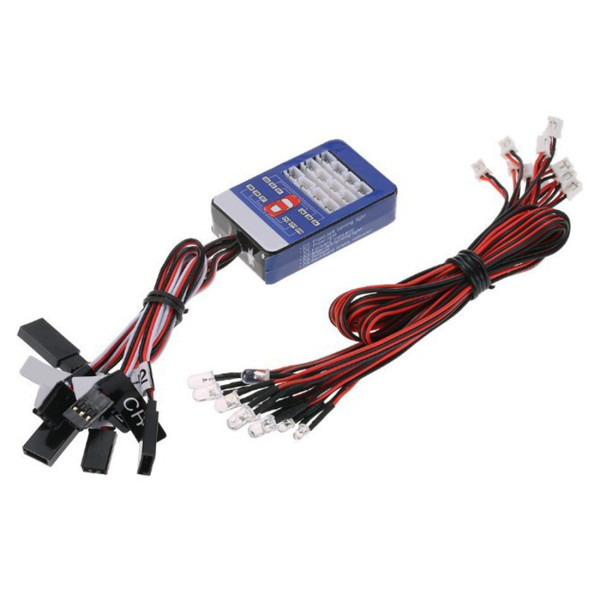 12 LED Lighting Kit Simulation Headlight Car Flashing Light for TAMIYA Model Car (Lights Can Be Turned Off By Remote Control)