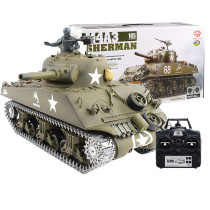 1:16 American M4A3 Sherman Tank 2.4G Remote Control Model Military Tank with Sound Smoke Shooting Effect