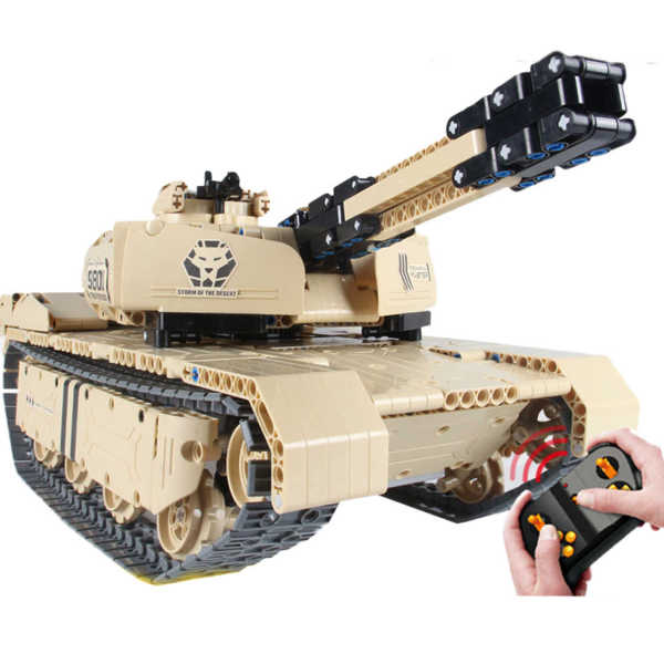 1276Pcs 1:16 DIY RC Tank Vehicle Building Block Small Particle Construction Model Toy