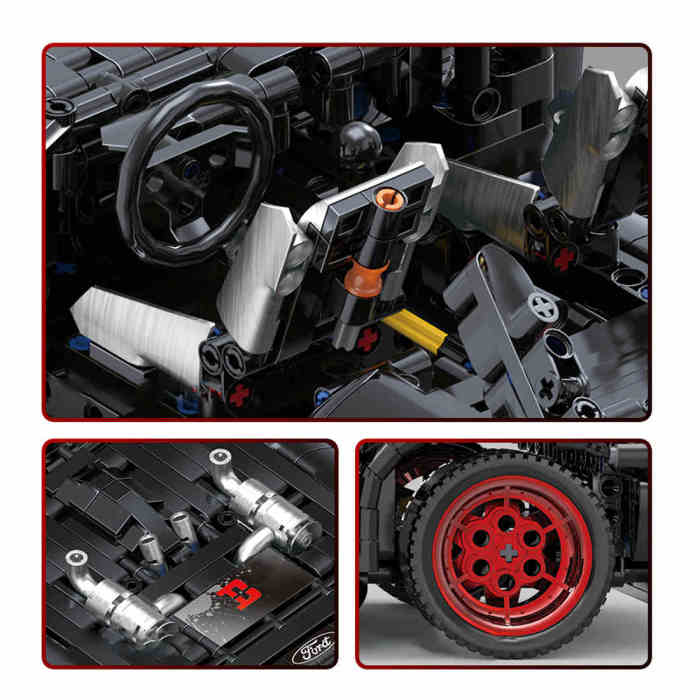 Technic Ford Mustang, 1639Pcs 1:12 RC Off-road Sports Car Model Building Block DIY Construction Model