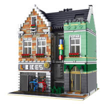 3668Pcs MOC 3D Steet Bike Shop Building Blocks Model DIY Construction Toys with Light