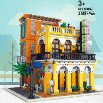 3158Pcs MOC 3D Steet Coffee Shop Building Block Model DIY Construction Toys with Light