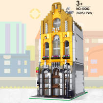 2605Pcs Moc3D Steet Ice Cream Shop Building Block Model DIY Construction Toys with Light