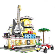2168Pcs MOC Corner Guitar House DIY Building Block Construction Toys with Light