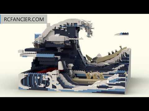 3000Pcs 3D MOC Brick Model, The Great Wave off Kanagawa -Rcfancier