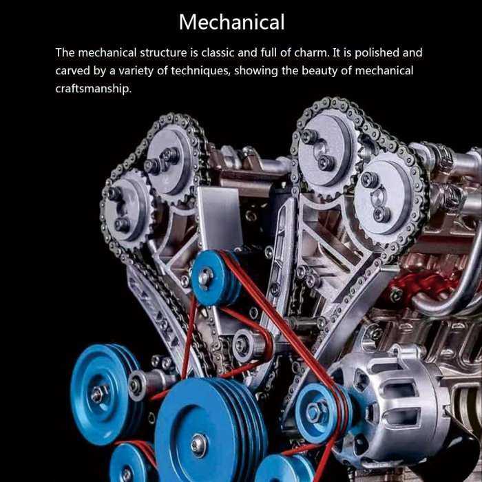 Teching V8 Engine Model 3D Metal Assembly Educational Toys