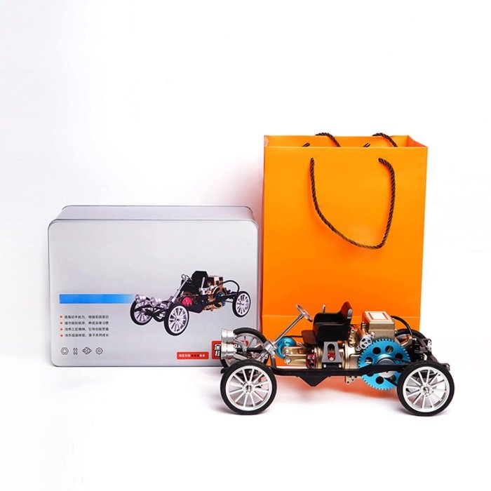 Teching British Retro-styled Single Cylinder Engine Car 3D Metal Assembly Model Toy
