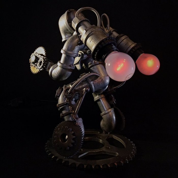 Steampunk Industrial Style Mechanical Metal Table Lamp Models 3D Metal Figures with Lights