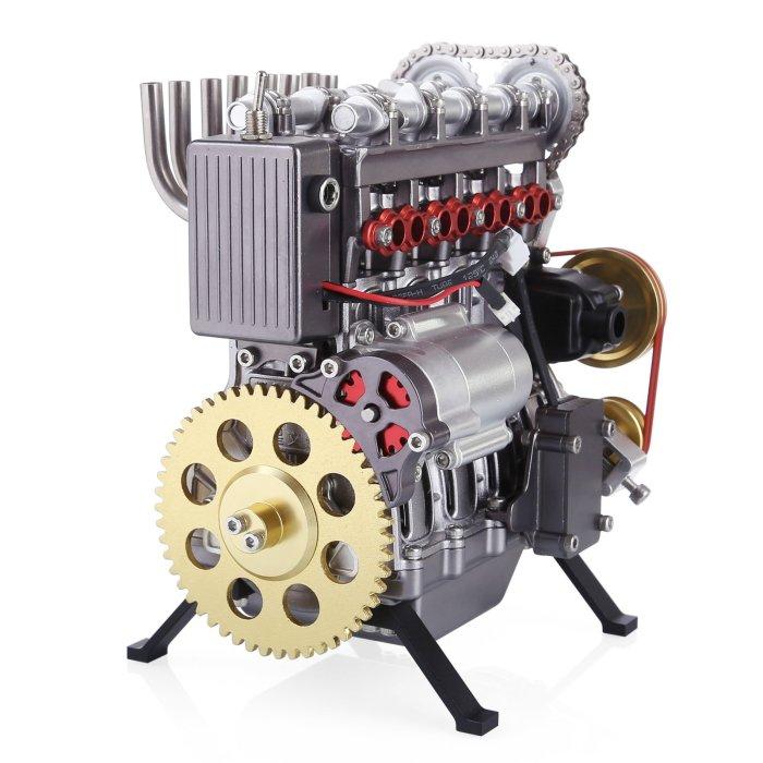 Teching 4 Cylinders Car Engine Model DIY Assembly V4 Engine Metal Model Kit