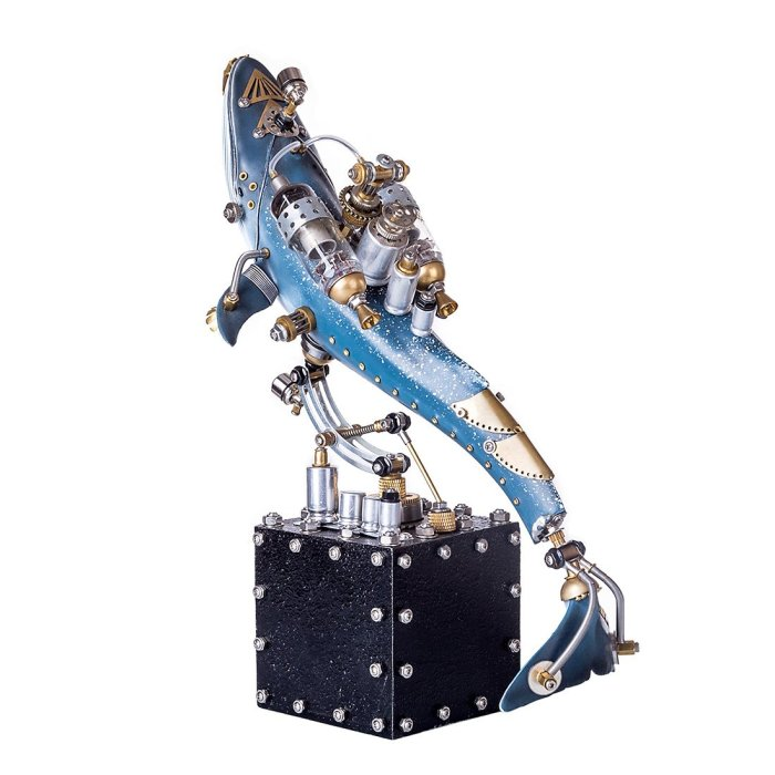 Steampunk Blue Metal Whale Model with Base Handmade 3D Assembled Animal Crafts Decor Kit