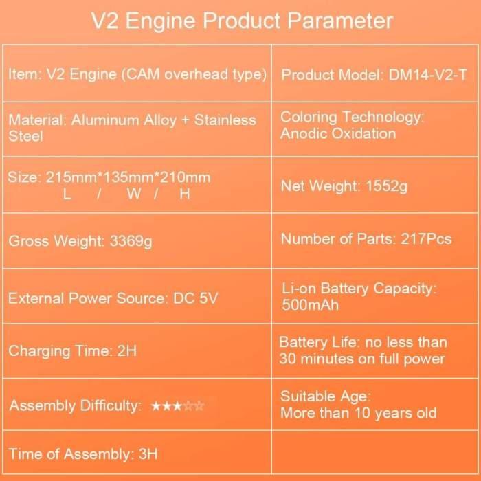 Teching V2 Car Engine Model All-metal Assembly 2 Cylinders Engine Model Kit