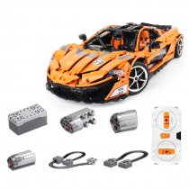 3320Pcs 1:8 2.4G Building Blocks RC Sports Car 12CH RC Roadster Model with Cool Light - Orange