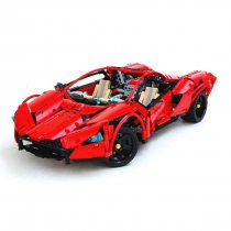 1607Pcs MOC RC Sports Car Vehicle Model High Level Assembly Small Particle Building Block Set with Motor and Remote Control - Red