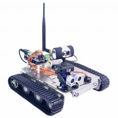 Programmable Robot DIY Wifi + Bluetooth Stainless Steel Chassis Track Tank Steam Educational Car with Graphic Programming XR BLOCK Linux for Arduino UNO R3