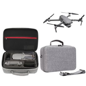 Hard Cover Storage Box Crush Resistance Waterproof Handbag Pearl Cotton Liner Single-shoulder Bag Organizer for DJI Mavic 2 Pro/Mavic 2 Zoom Drone - Grey