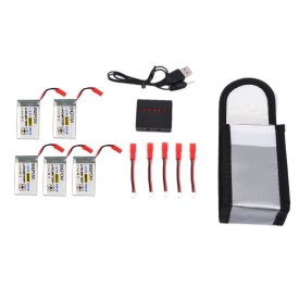 5Pcs 3.7V 1000mAh 20C JST Head Lithium Battery Set with Charger for MJX Helicopter   T04/T05/T25/M03/F28/F29
