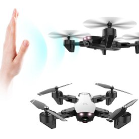 L107 2.4G Remote Control Folding Drone 1080P Endurance Dual Camera Drone with Optical Flow Positioning Gestures Aerial - White