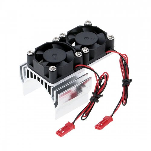 Motor Heat Sink with 2 Cooling Fans for 1/10 HSP RC Car 540/550 3650 Motor