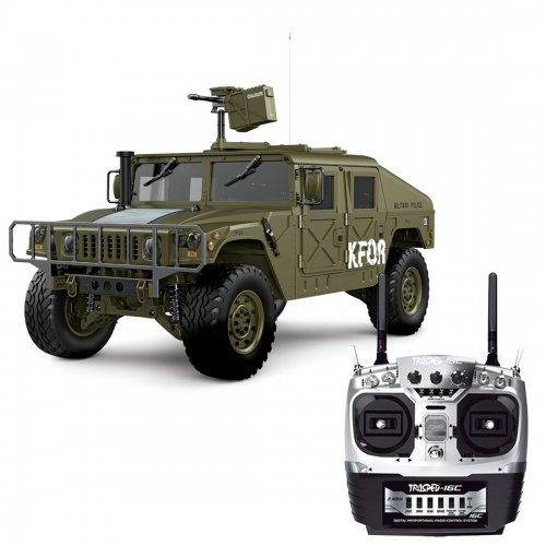 HG P408 1/10 2.4G 4WD 16CH 30km/h RC Model Car Light Sound Function U.S.4X4 Truck without Battery Charger - Olive Drab