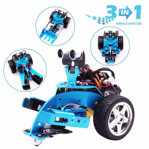 3-in-1 Graphical Programmable Robot Car with Bluetooth IR and Tracking Module Aluminum Alloy Stem Steam Robot Car Toy for Micro:bit BBC Mainboard