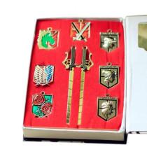 Attack On Titan Badge Keychain Set Cosplay Accessories Costume Props 9Pcs/set (7Pcs Badge + 2Pcs Mini Sword Keychain)
