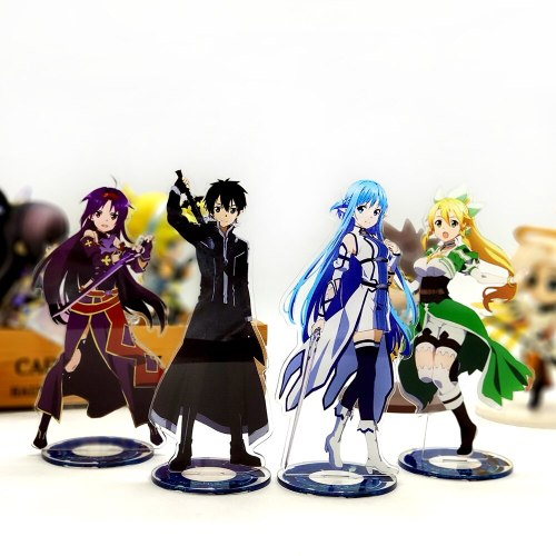 Sword Art Online Kirito Asuna Leafa Yuuki acrylic stand figure model double-side plate holder cake topper anime