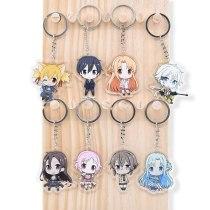 Anime Sword Art Online Kirito Asuna Two Sided Acrylic Keyring Keychain Key Chain