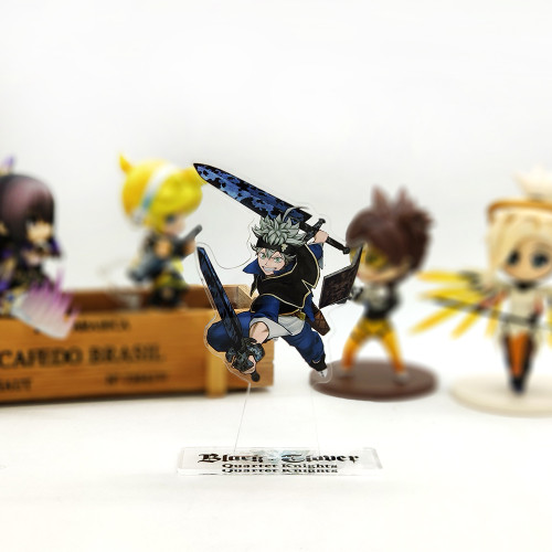 Black Clover Asta 5 Leaf magic acrylic stand figure model double-side plate holder topper anime japanese