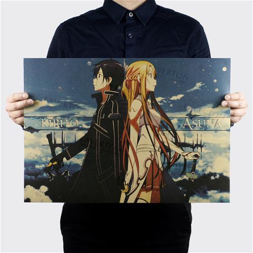 Free shipping,Sword Art Online A Style/Japanese Cartoon Comic /kraft paper/bar poster/Retro Poster/decorative painting 51x35.5cm