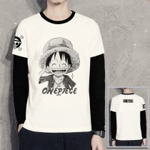 Luffy with straw hat design tee shirt ONE PIECE t shirt Pirates long sleeve t-shirt