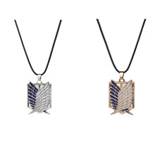 Anime Attack on Titan Necklace Wings of Liberty Shingeki No Kyojin Leather Chain Gold Silver Pendant Attack of Titans Costume
