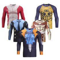 Anime ONE PIECE T shirt 3D Printed Luffy/Trafalgar.Law/Sanji/Usopp/BROOK Long Sleeve Tight Slim Fit Top Tees Mens Clothing