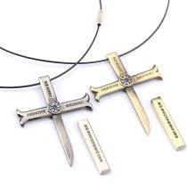 ONE PIECE Necklace Dracule Mihawk Cross Pendant Necklace Friendship Men Women Anime Jewelry Choker Accessories YS11446