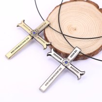 Anime One Piece Necklace Dracule Mihawk Cross Sword Kogatana Zinc Alloy Choker Kolye Men Women Gift Necklaces Pendants Jewelry