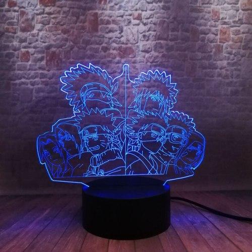Naruto Family Anime Figure 3D Illusion LED Colorful Flashing Desk Nightlight Japan Manga Naruto Figure Toys Desk Decor